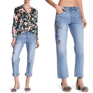 Current/Elliot Embroidered Straight Leg Jeans